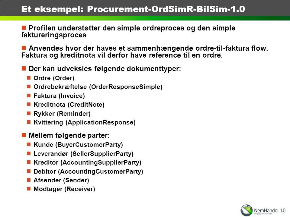 Et eksempel: Procurement-OrdSimR-BilSim-1.0