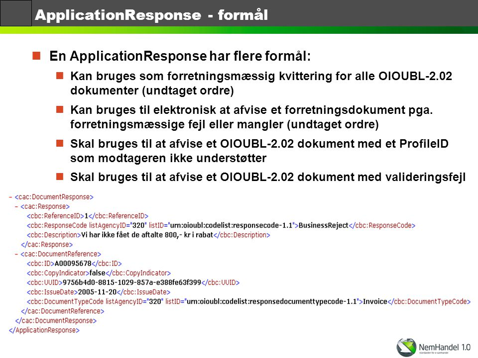 ApplicationResponse - formål