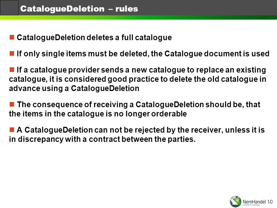 CatalogueDeletion – rules