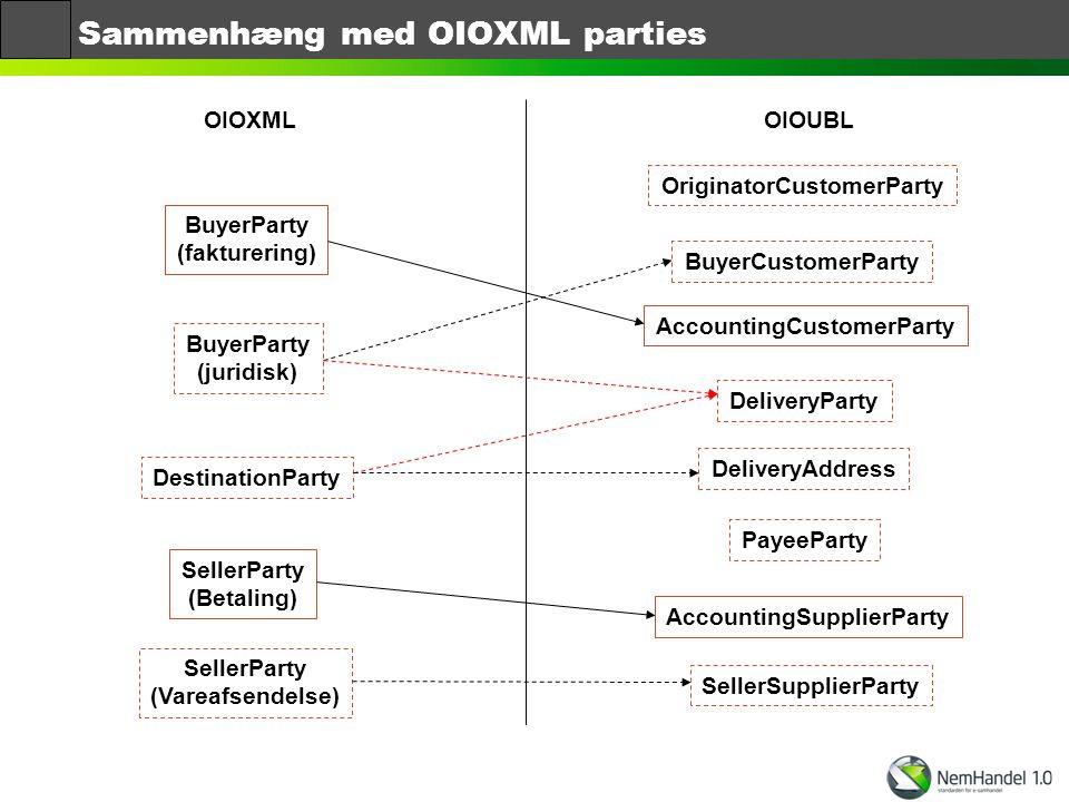 Sammenhæng med OIOXML parties