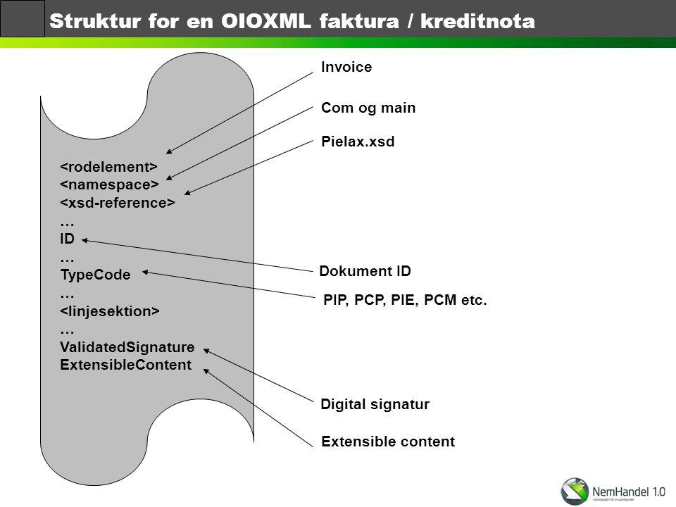 Struktur for en OIOXML faktura / kreditnota