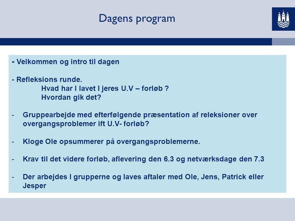 Dagens program - Velkommen og intro til dagen - Refleksions runde.
