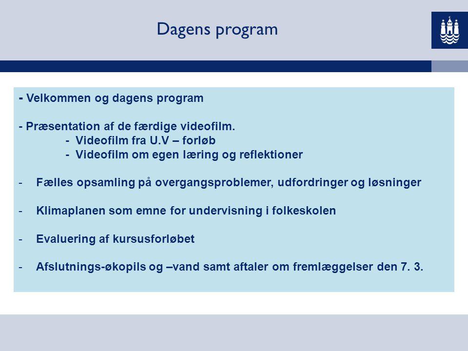 Dagens program - Velkommen og dagens program