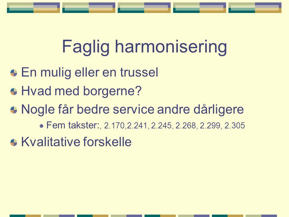 Faglig harmonisering En mulig eller en trussel Hvad med borgerne