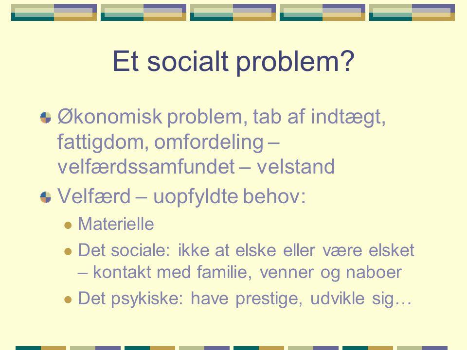 Et socialt problem Økonomisk problem, tab af indtægt, fattigdom, omfordeling – velfærdssamfundet – velstand.