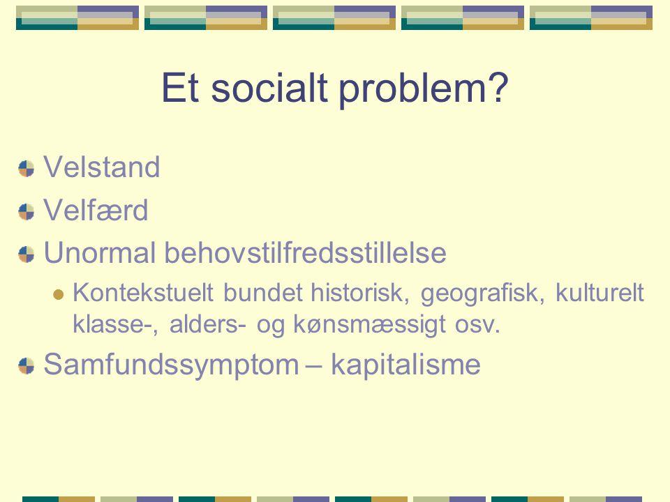 Et socialt problem Velstand Velfærd Unormal behovstilfredsstillelse