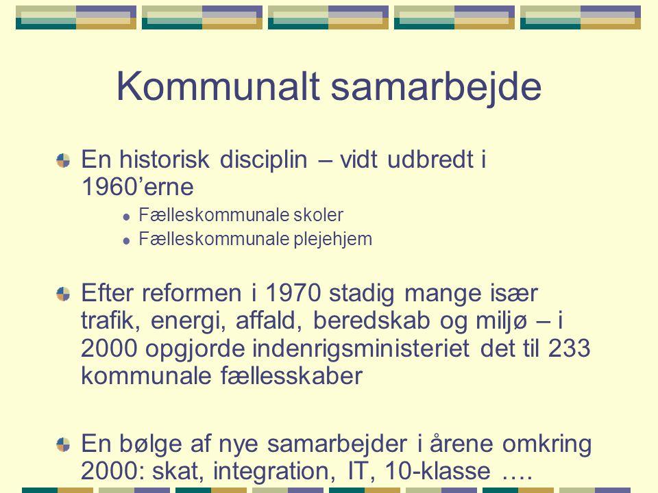 Kommunalt samarbejde En historisk disciplin – vidt udbredt i 1960'erne