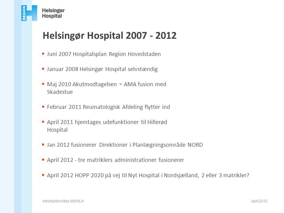 Helsingør Hospital 2007 - 2012 Juni 2007 Hospitalsplan Region Hovedstaden. Januar 2008 Helsingør Hospital selvstændig.