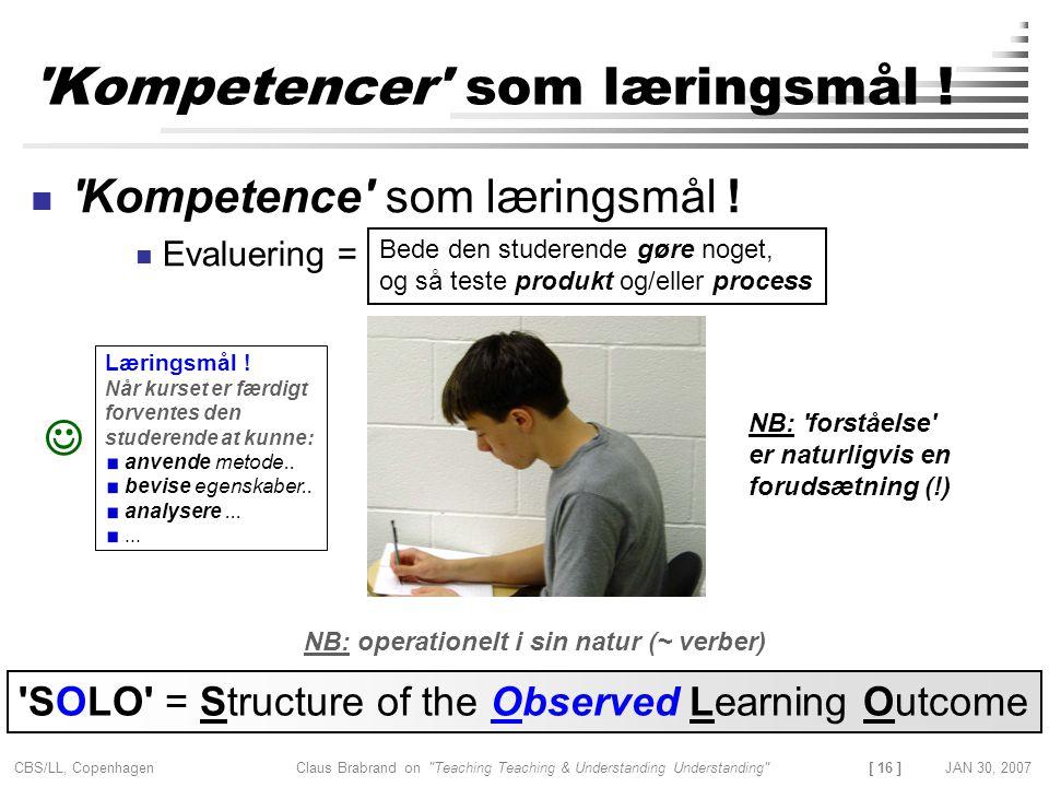 Kompetencer som læringsmål !