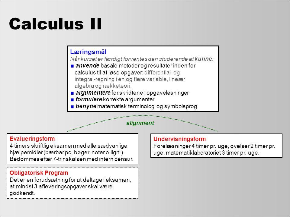 Calculus II Læringsmål