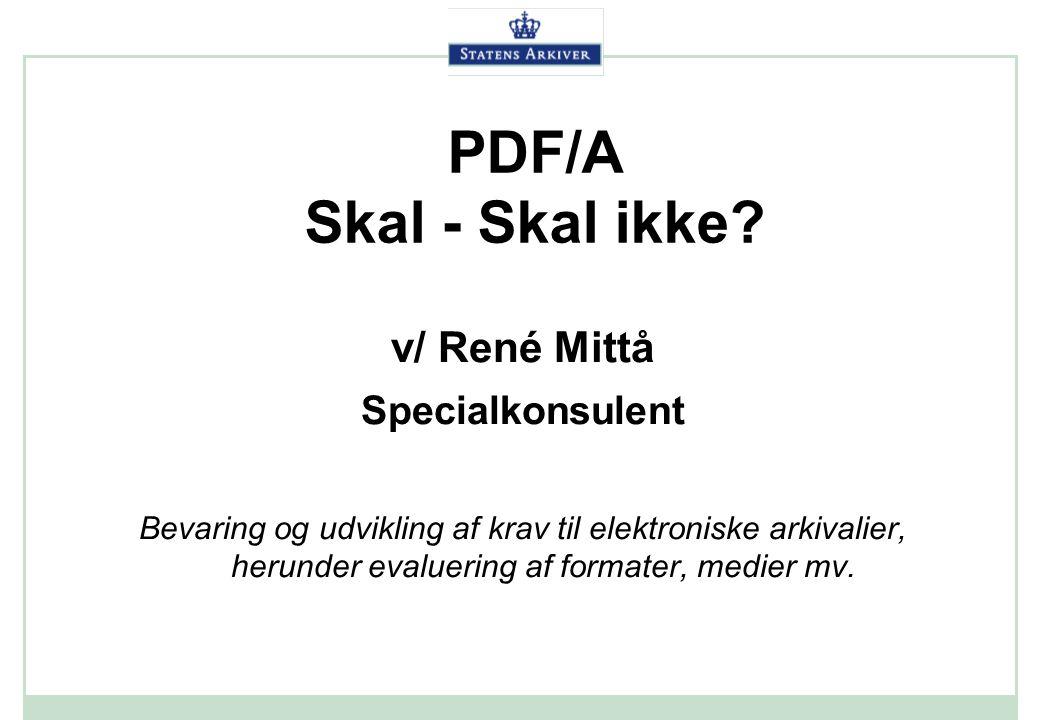 PDF/A Skal - Skal ikke v/ René Mittå Specialkonsulent
