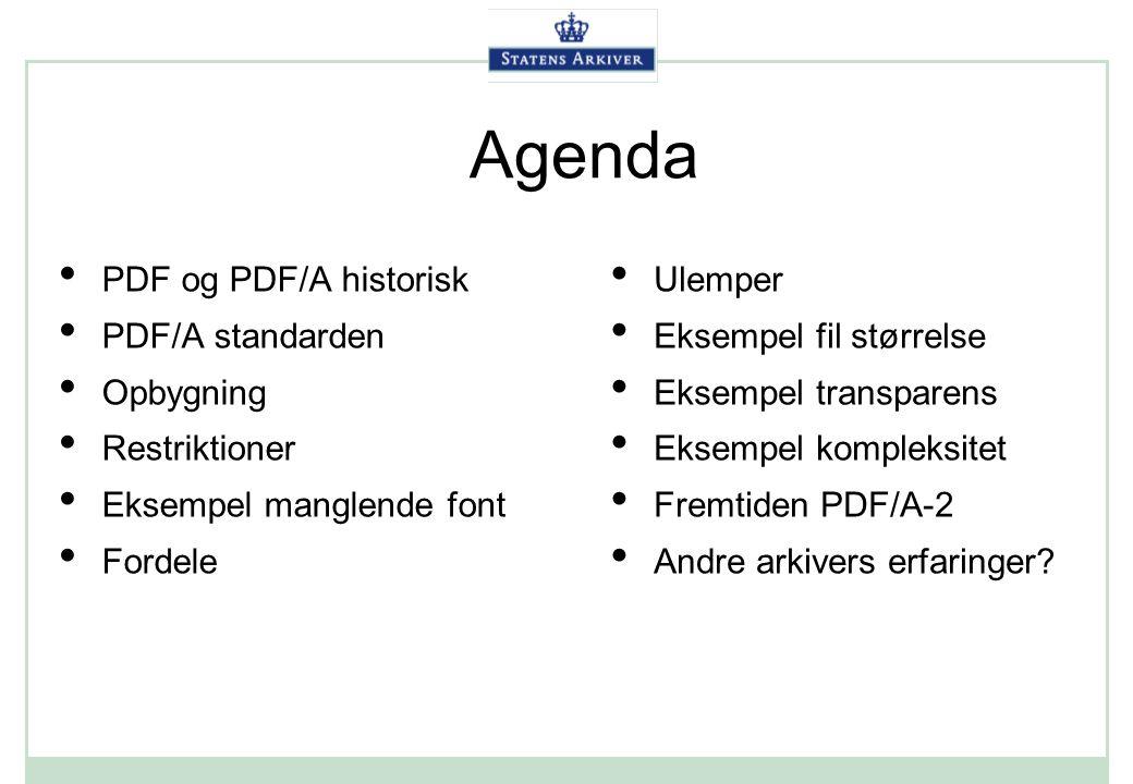 Agenda PDF og PDF/A historisk PDF/A standarden Opbygning Restriktioner