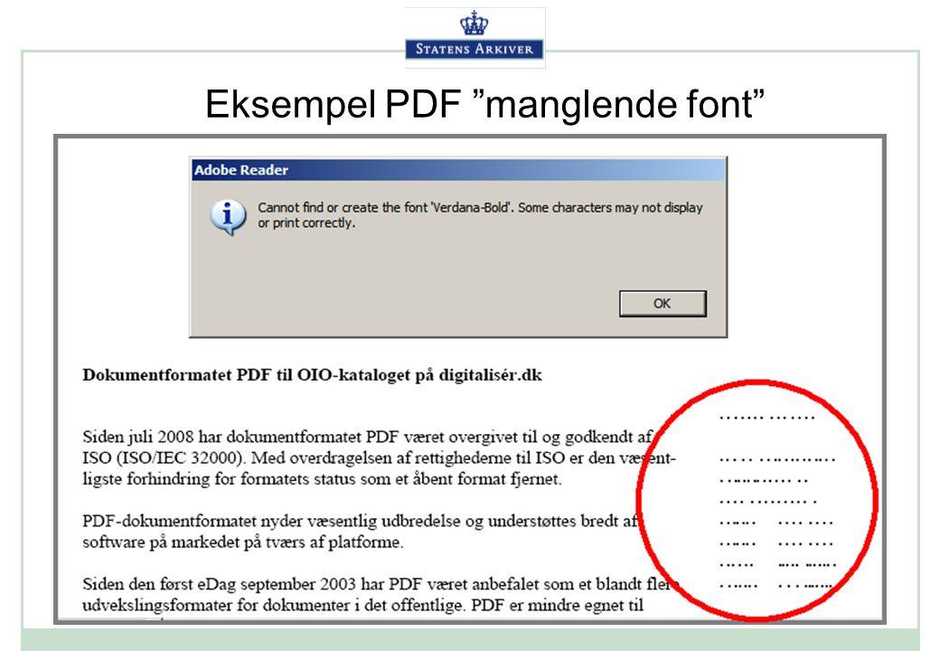 Eksempel PDF manglende font