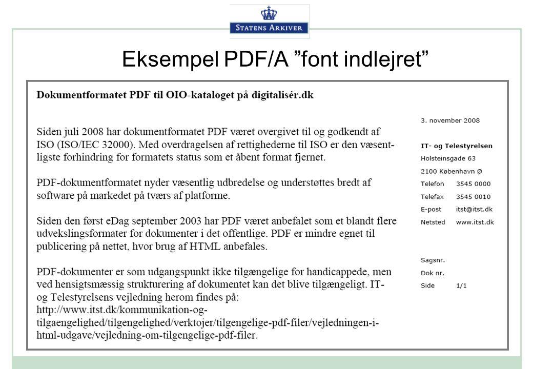 Eksempel PDF/A font indlejret