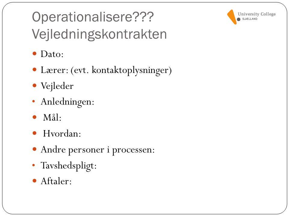 Operationalisere Vejledningskontrakten