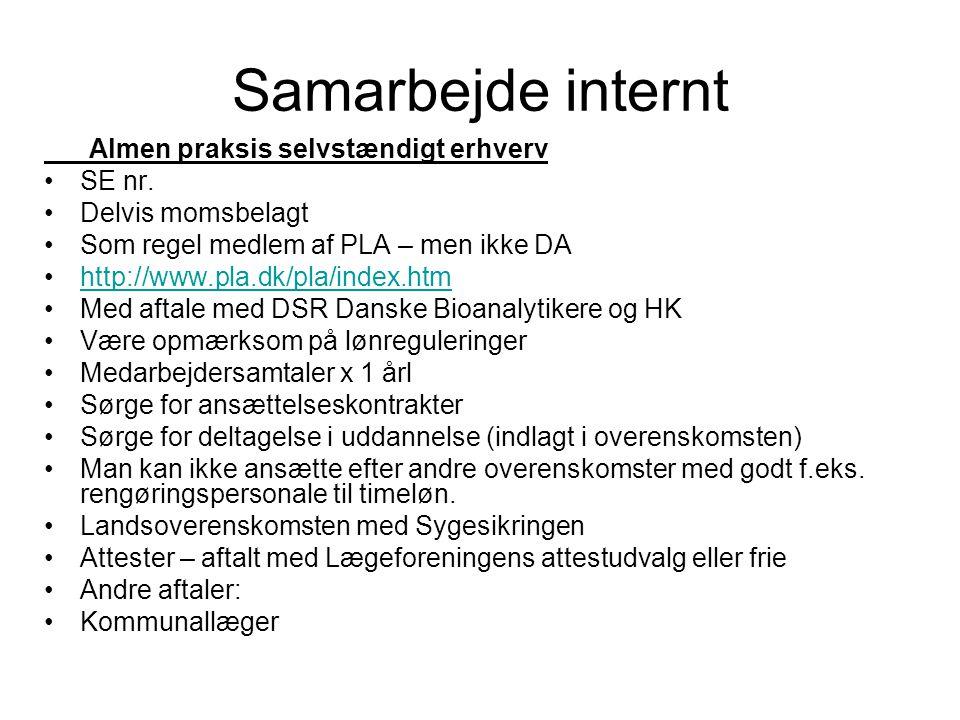 Samarbejde internt Almen praksis selvstændigt erhverv SE nr.