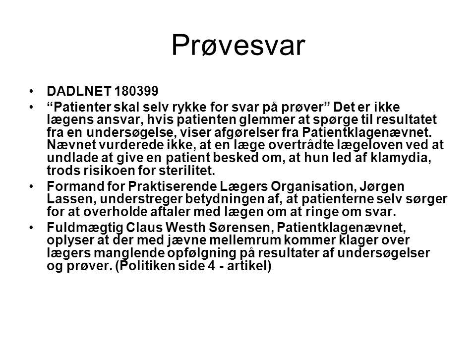 Prøvesvar DADLNET 180399.