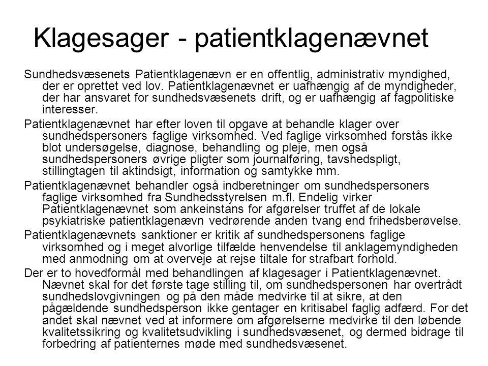 Klagesager - patientklagenævnet
