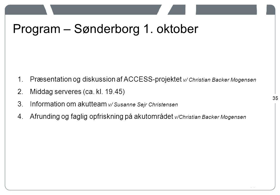Program – Sønderborg 1. oktober