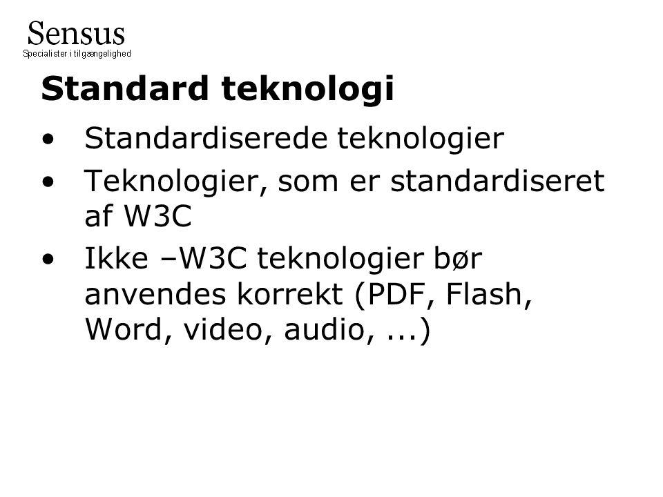 Standard teknologi Standardiserede teknologier