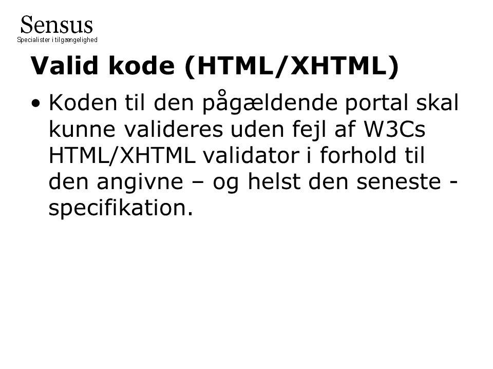 Valid kode (HTML/XHTML)