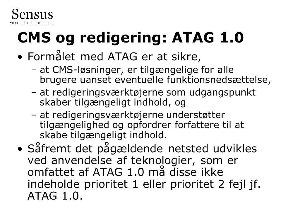 CMS og redigering: ATAG 1.0