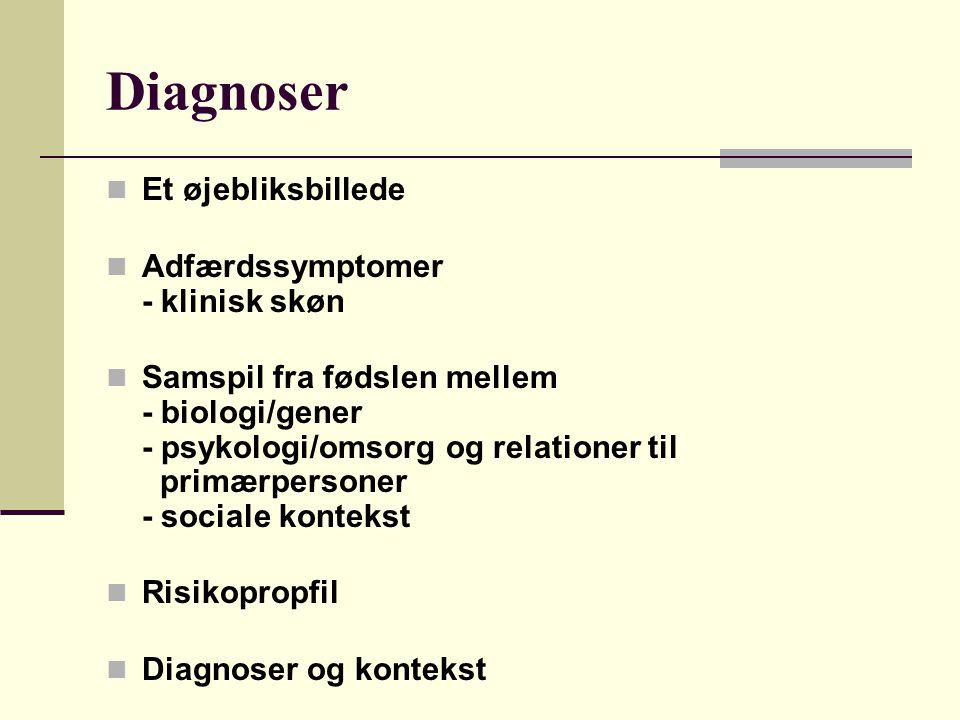 Diagnoser Et øjebliksbillede Adfærdssymptomer - klinisk skøn