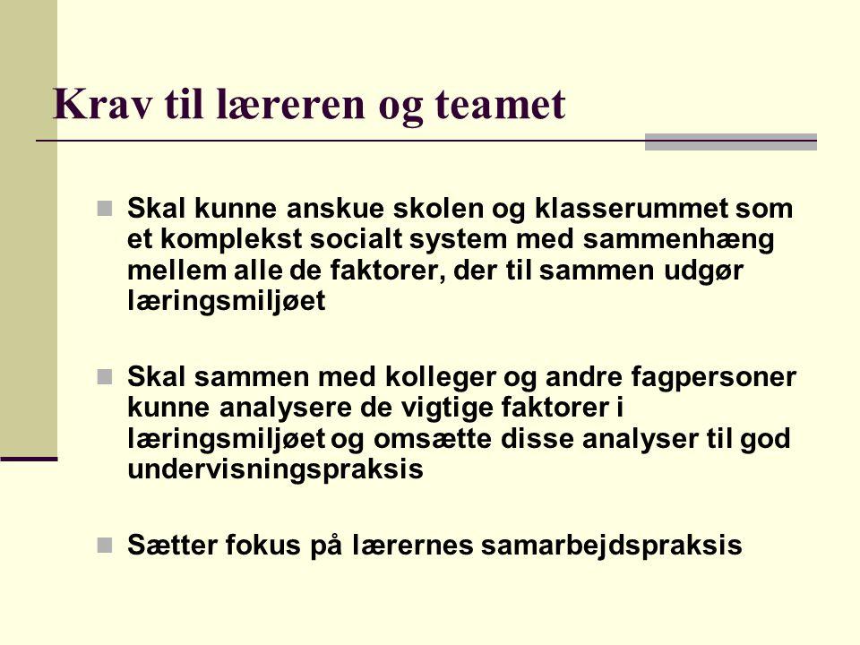 Krav til læreren og teamet