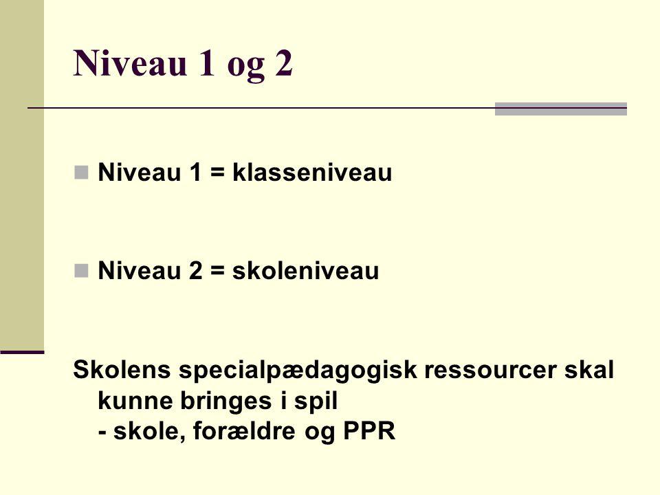 Niveau 1 og 2 Niveau 1 = klasseniveau Niveau 2 = skoleniveau