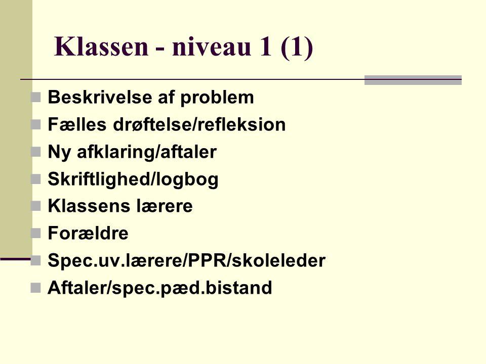 Klassen - niveau 1 (1) Beskrivelse af problem