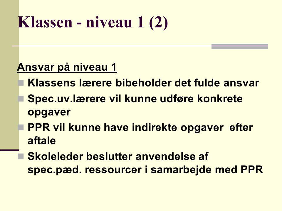 Klassen - niveau 1 (2) Ansvar på niveau 1