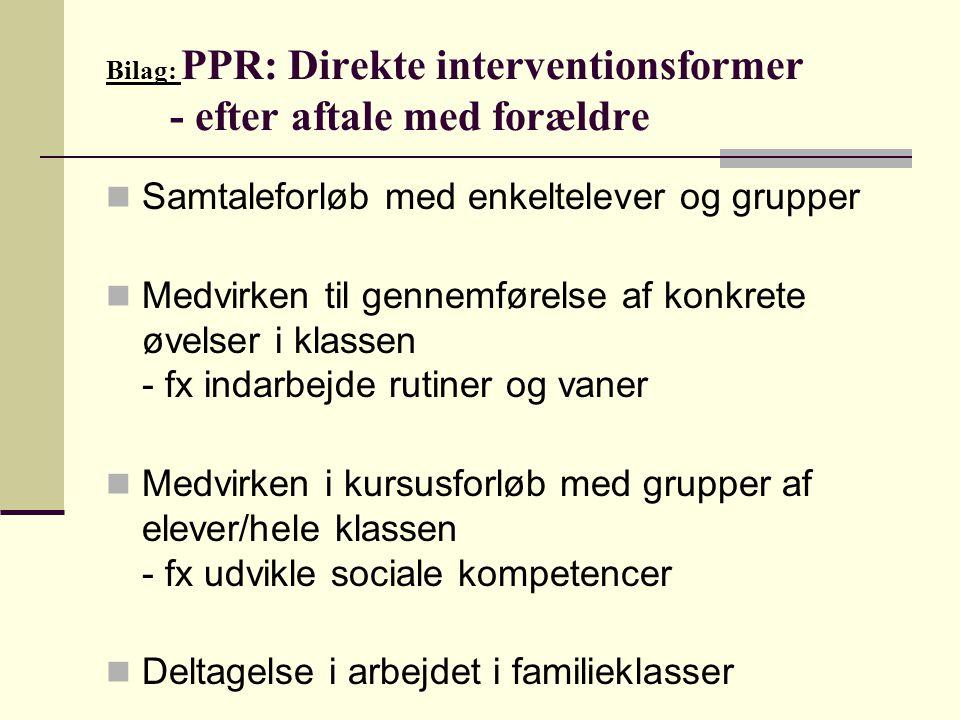 Bilag: PPR: Direkte interventionsformer - efter aftale med forældre