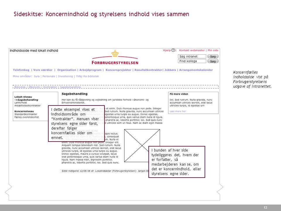 Sideskitse: Koncernindhold og styrelsens indhold vises sammen