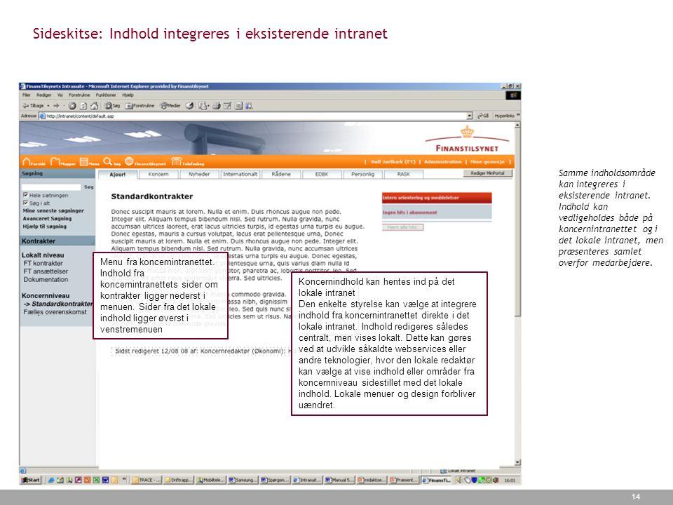 Sideskitse: Indhold integreres i eksisterende intranet