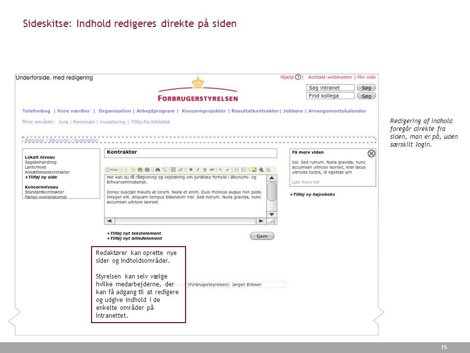 Sideskitse: Indhold redigeres direkte på siden