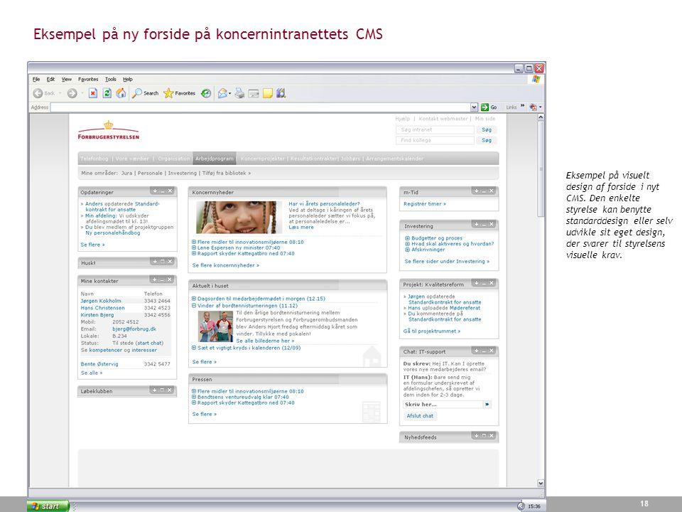 Eksempel på ny forside på koncernintranettets CMS