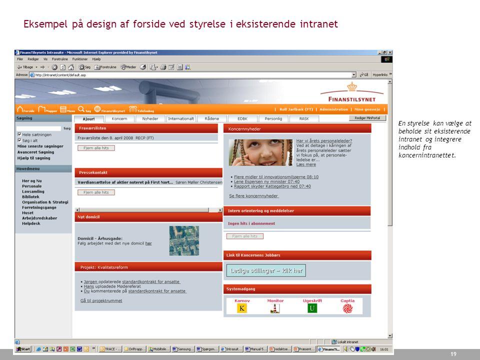 Eksempel på design af forside ved styrelse i eksisterende intranet