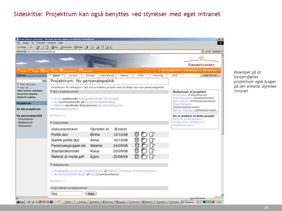 Sideskitse: Projektrum kan også benyttes ved styrelser med eget intranet