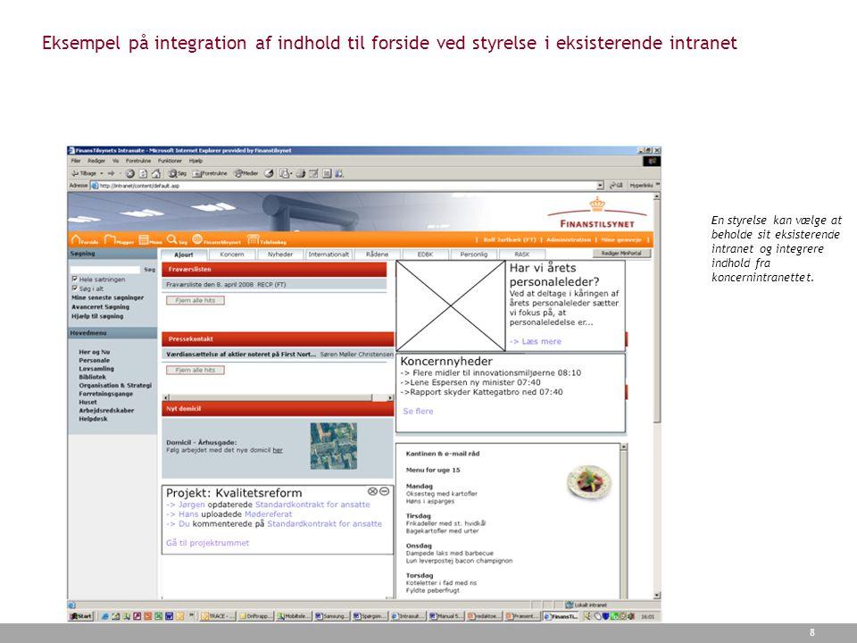 Eksempel på integration af indhold til forside ved styrelse i eksisterende intranet