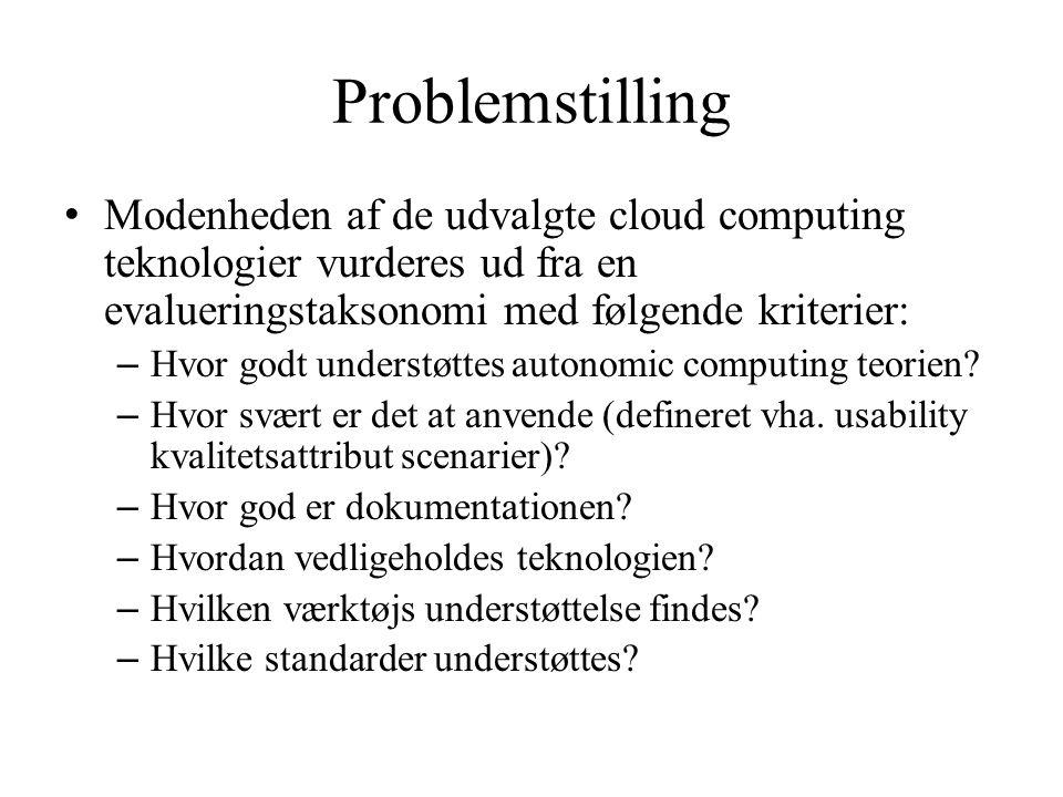 Problemstilling Modenheden af de udvalgte cloud computing teknologier vurderes ud fra en evalueringstaksonomi med følgende kriterier:
