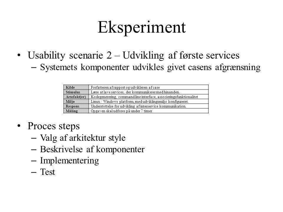 Eksperiment Usability scenarie 2 – Udvikling af første services