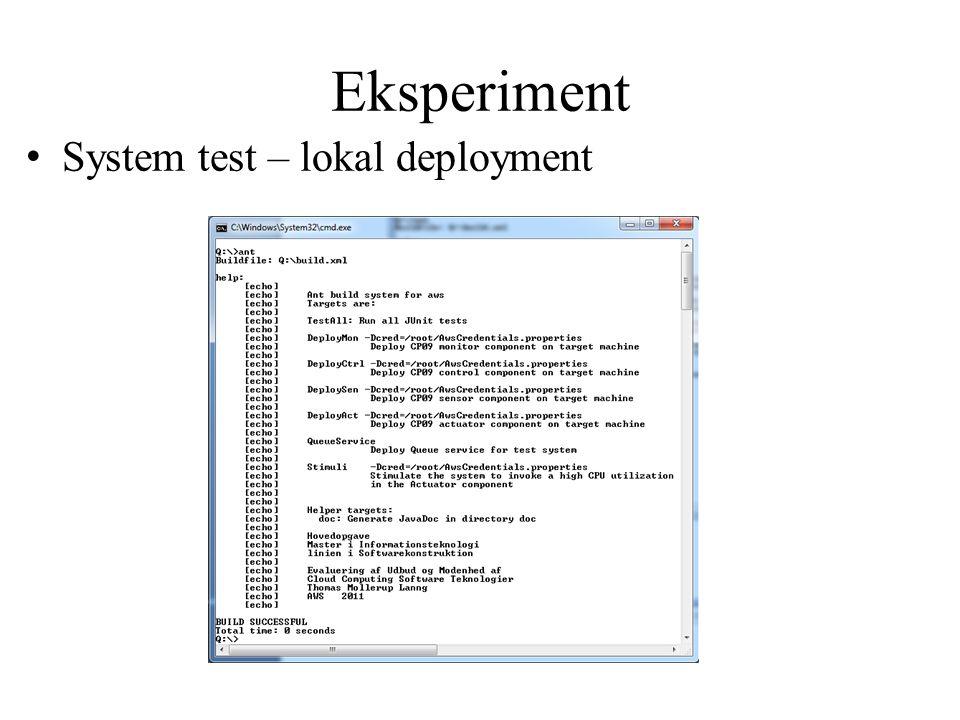 Eksperiment System test – lokal deployment