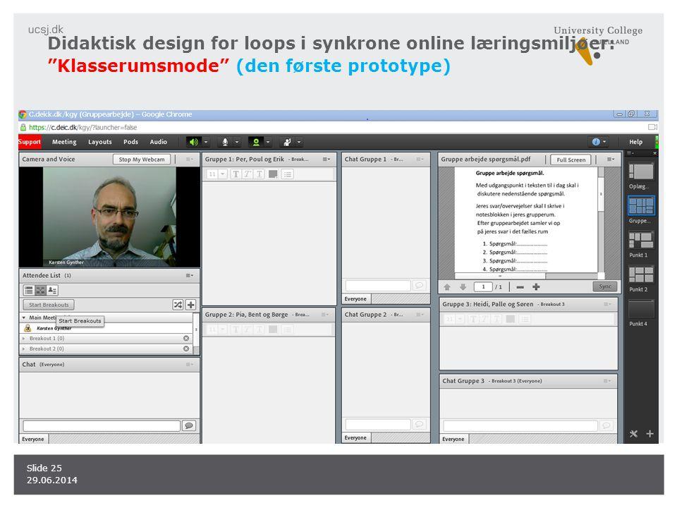 Didaktisk design for loops i synkrone online læringsmiljøer: Klasserumsmode (den første prototype)