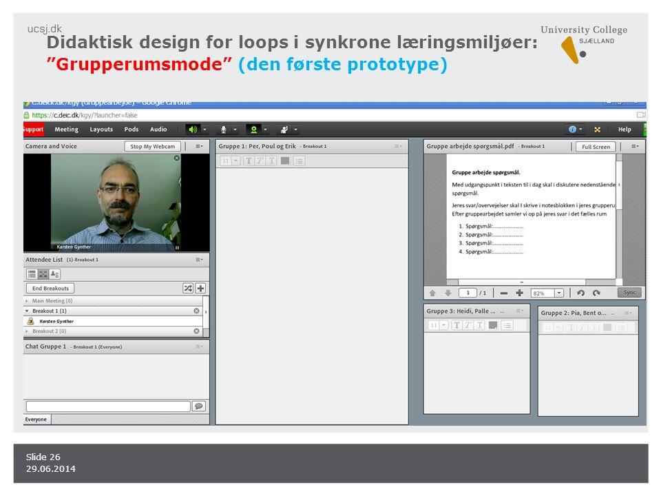 Didaktisk design for loops i synkrone læringsmiljøer: Grupperumsmode (den første prototype)