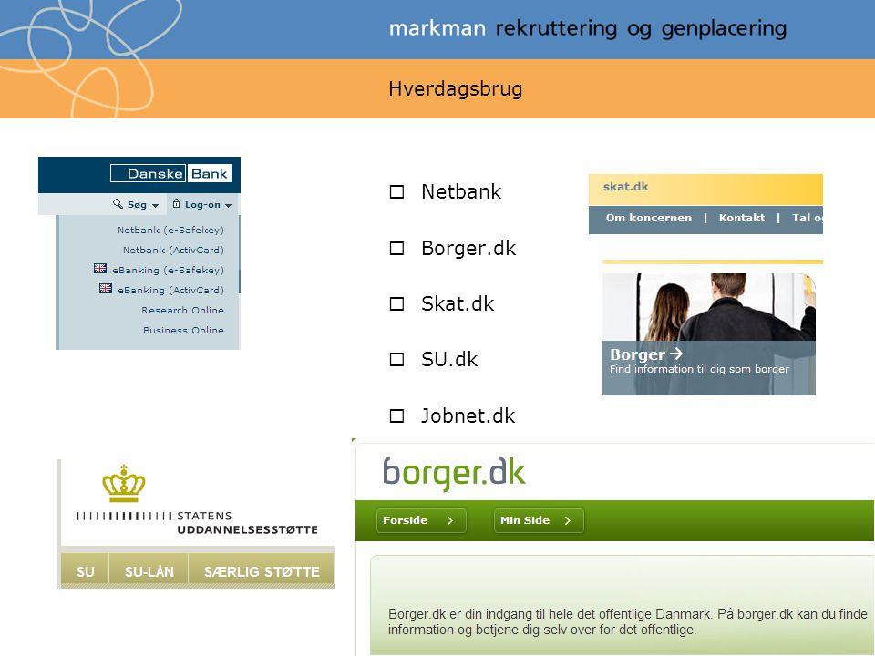 Hverdagsbrug Netbank Borger.dk Skat.dk SU.dk Jobnet.dk