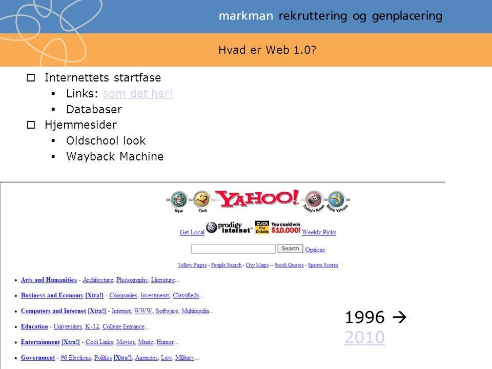 1996  2010 Hvad er Web 1.0 Internettets startfase