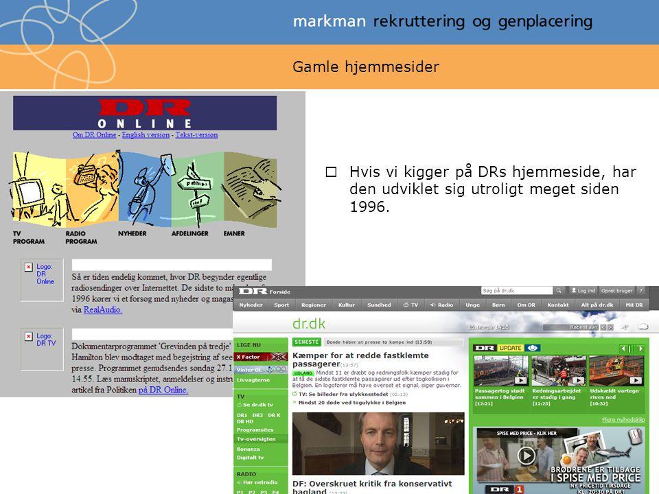 Gamle hjemmesider Hvis vi kigger på DRs hjemmeside, har den udviklet sig utroligt meget siden 1996.