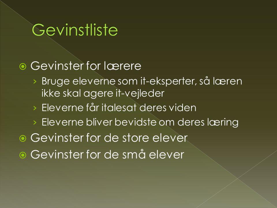 Gevinstliste Gevinster for lærere Gevinster for de store elever