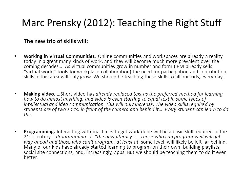 Marc Prensky (2012): Teaching the Right Stuff