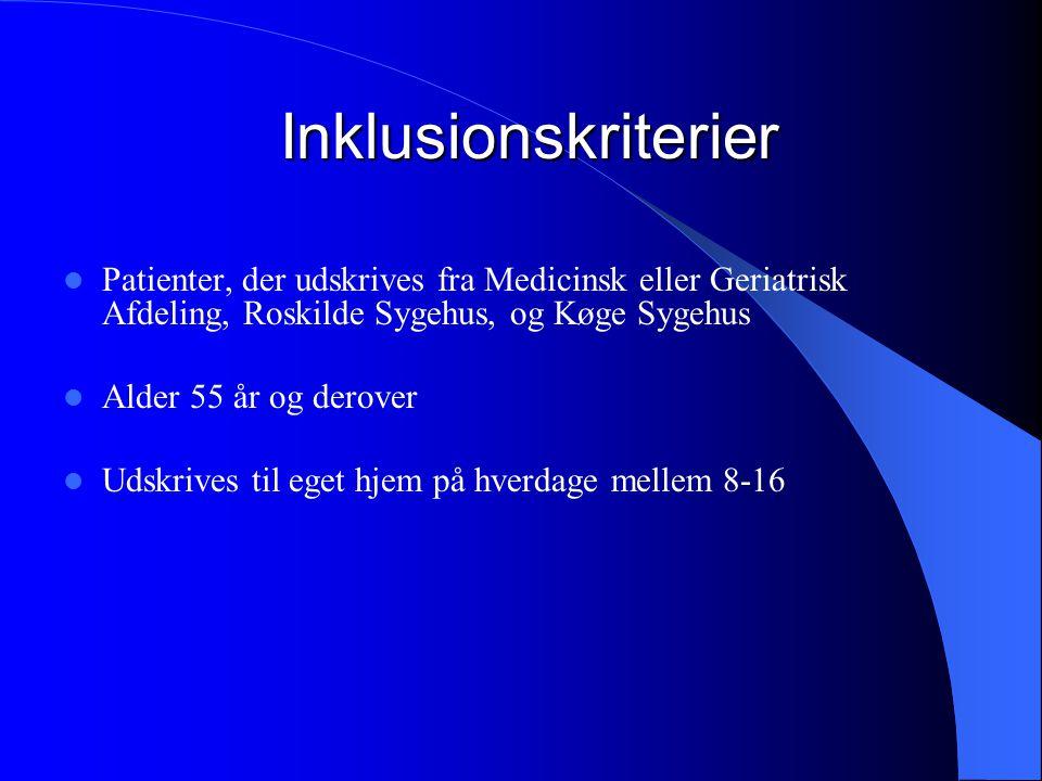 Inklusionskriterier Patienter, der udskrives fra Medicinsk eller Geriatrisk Afdeling, Roskilde Sygehus, og Køge Sygehus.